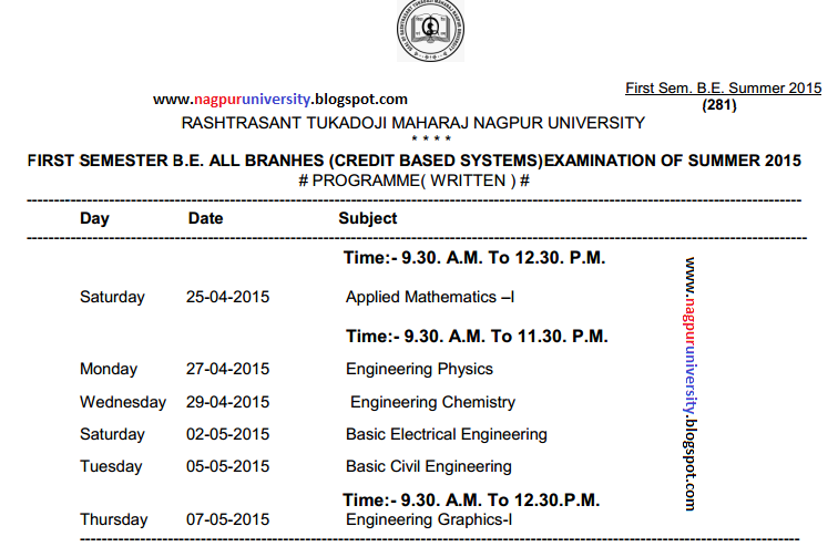 B e first semester 1st year cbs time table summer 2015 for Rtmnu time table 4th sem