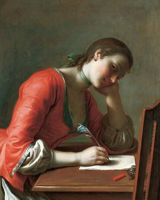 Young Woman Writing a Love Letter, 1755, Pietro Antonio Rotari, Norton Simon Museum