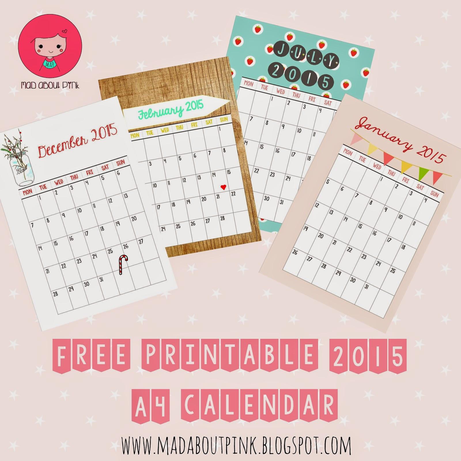 Printable Monthly Planner 2015: 2015 Free Printable Calendars