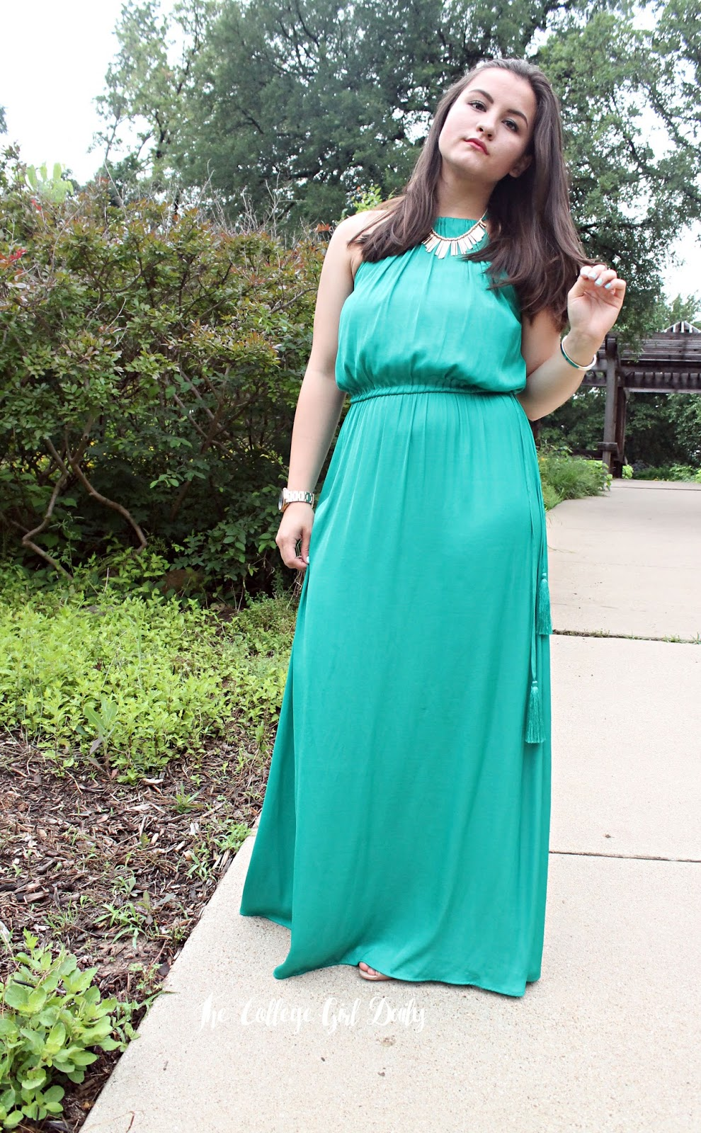 spring, dress, loft, weddings, teal gold, bracelet, heels, cute, ootd, outfit, spring, summer, wedding, bridesmaids, maxi, maxi dress,