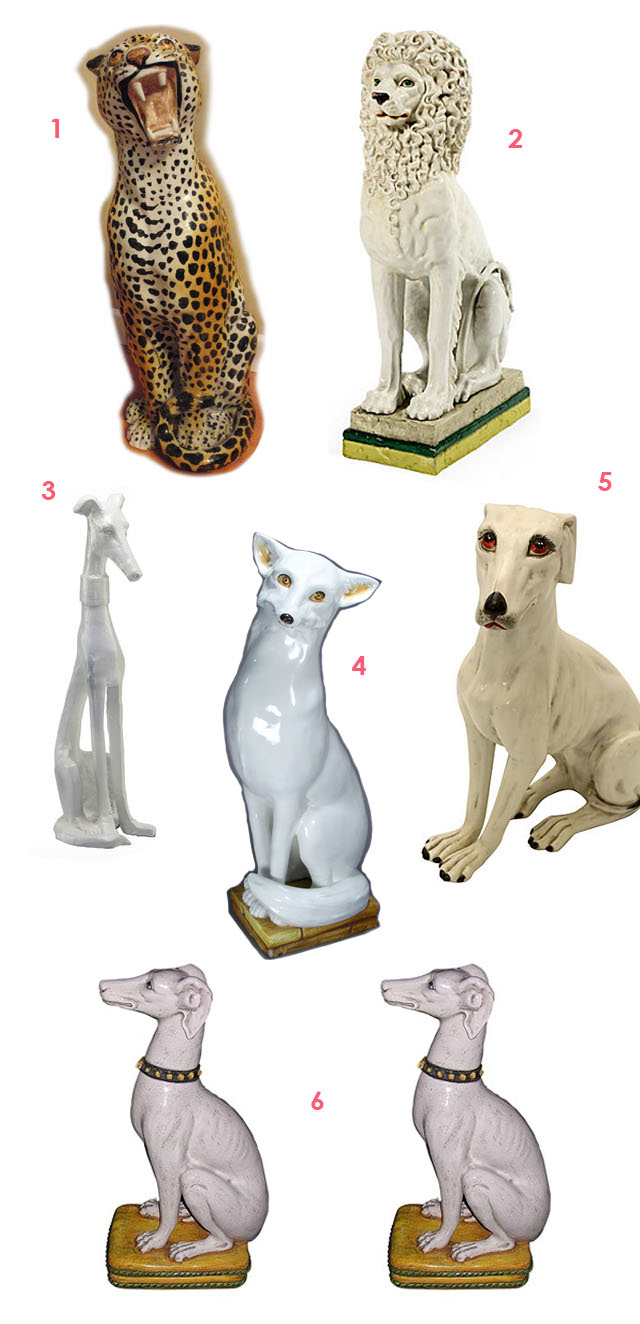 large vintage animal statues as decor
