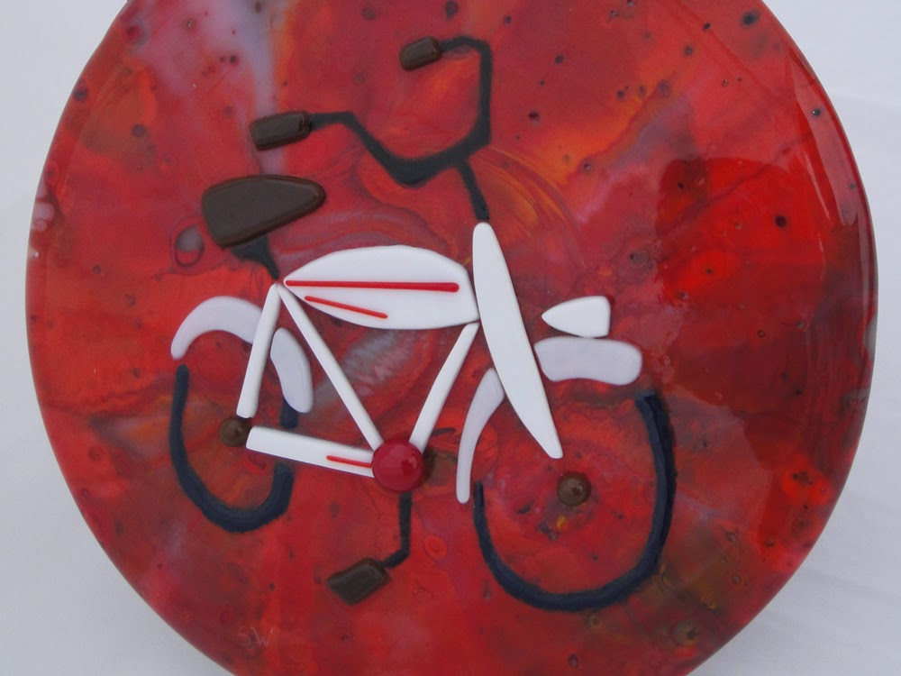 fused glass bike stained art beer vintage retro pot melt flutterbybutterfly Sharon Waren