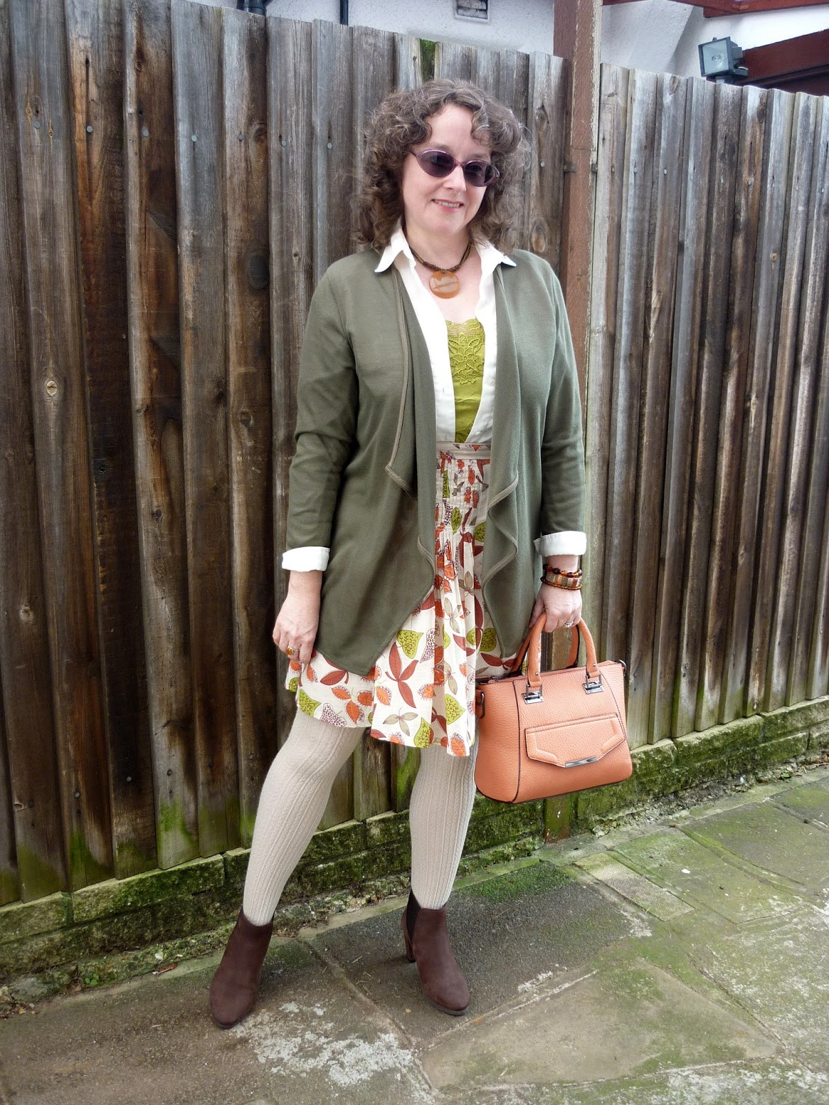Olive Waterfall Cardigan, Pistachio Cami, Shirt, Pumpkin Bag, Leaf Patterned Skirt | Petite Silver Vixen