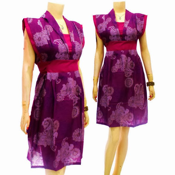 DB3700 Mode Baju Dress Batik Modern Terbaru 2014