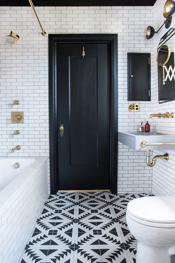 Eclectic b&w bathroom by Katie Martinez Design