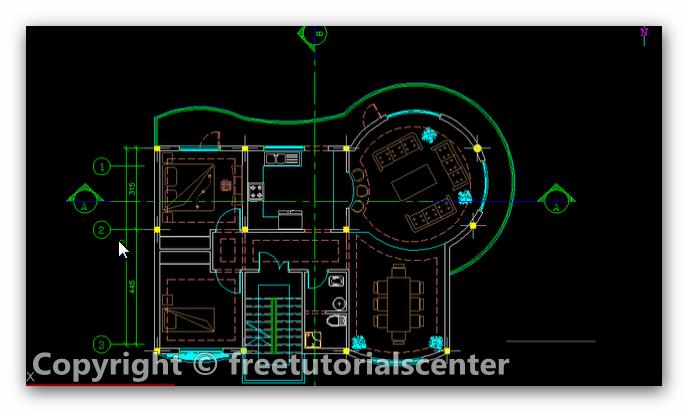 Villa plan autocad project villa plan dwg for Villa plan dwg