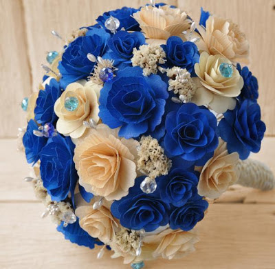 royal blue bridal bouquet