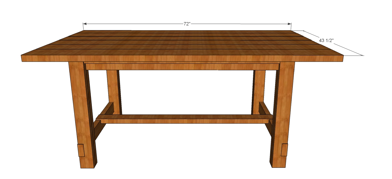 "... for 72"" Rustic Farmhouse Dining Table based on Ana White's free plans"