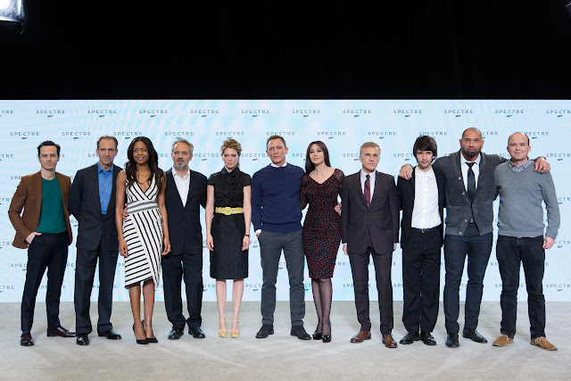 "Eon Productions, Metro-Goldwyn-Mayer and Sony Pictures Entertainment announce the 24th James Bond adventure "" SPECTRE. "" Pictured: (L to R) Andrew Scott, Ralph Fiennes, Naomie Harris, Sam Mendes, Léa Seydoux, Daniel Craig, Monica Bellucci, Christoph Waltz, Ben Whishaw, Dave Bautista, Rory Kinnear."