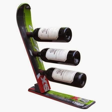 skier wine rack