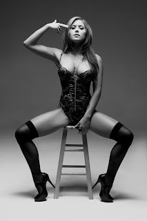 Brittney Palmer hot Playboy Girl teddy lingerie stockings heels black and white HQ HD photo