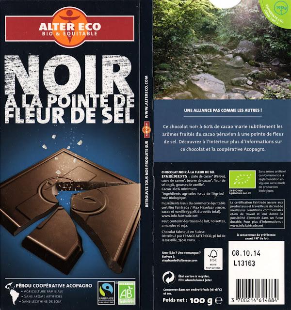tablette de chocolat noir gourmand alter eco pérou noir à la pointe de fleur de sel