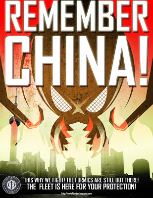 Ender's Game Propaganda Poster for the Ender's Game Movie by Darian Robbins, Remember China aka Never Again