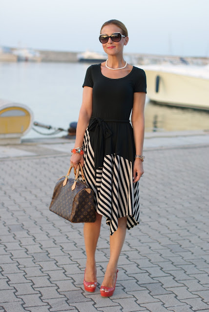 summer outfits, black and white striped dress, DKNY, Fashion and Cookies