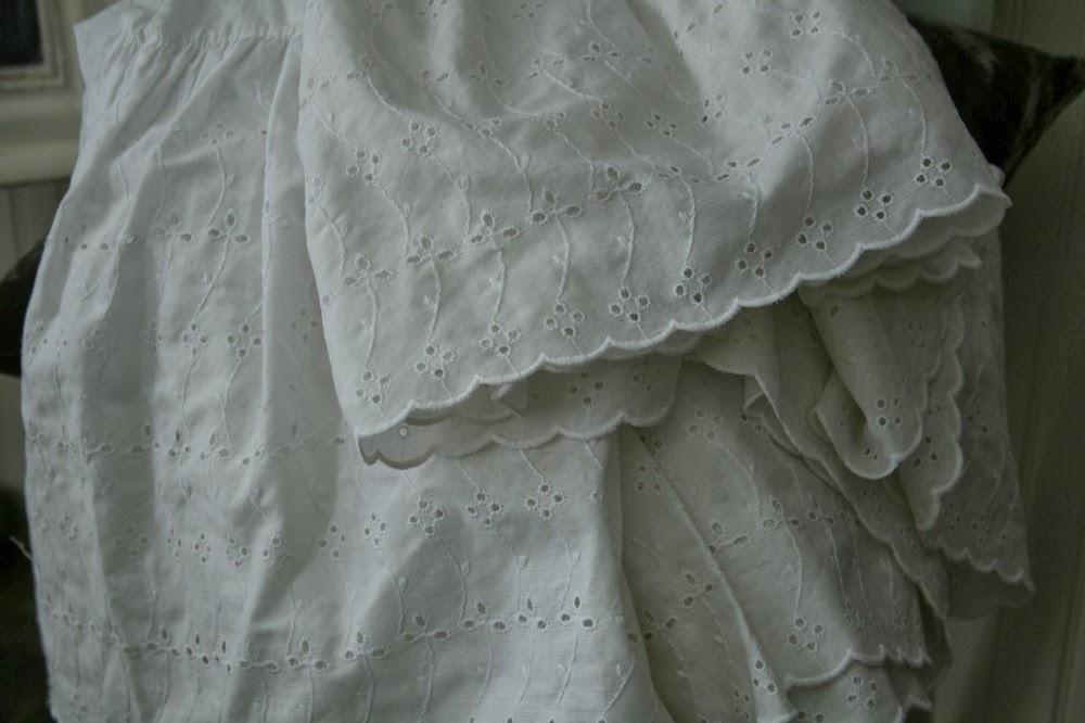 repurposed fabric, eyelet lace, ruffles
