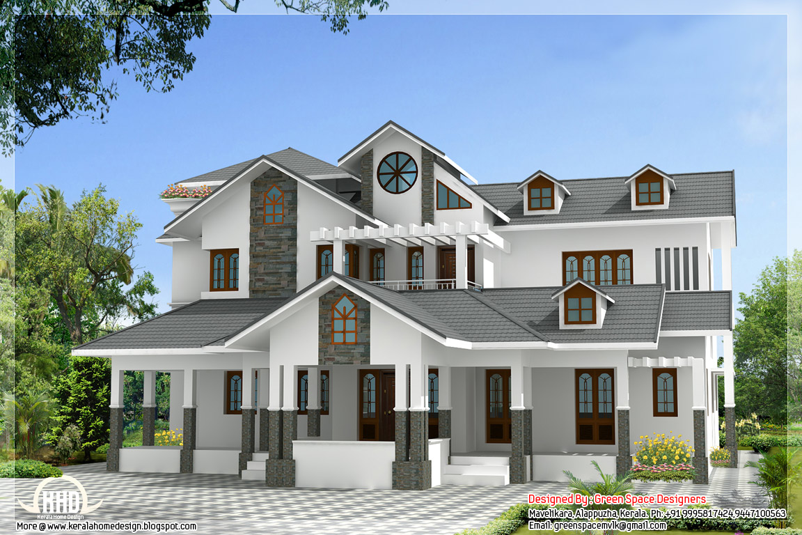 Vastu based indian home design with 3 balconies kerala for Indian house image