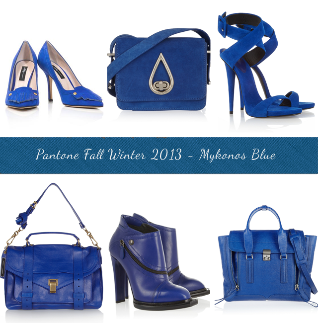 Mykonos Blue for Fall Winter 2013, Blue Bags, Blue Shoes for Fall Winter 2013