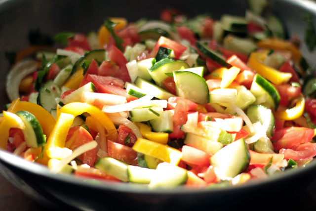 russian colorful summer veggie salad