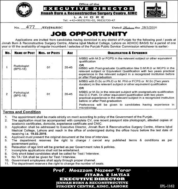 Doctors Jobs at Jinnah Burn Unit & Reconstructive Surgery Center Lahore