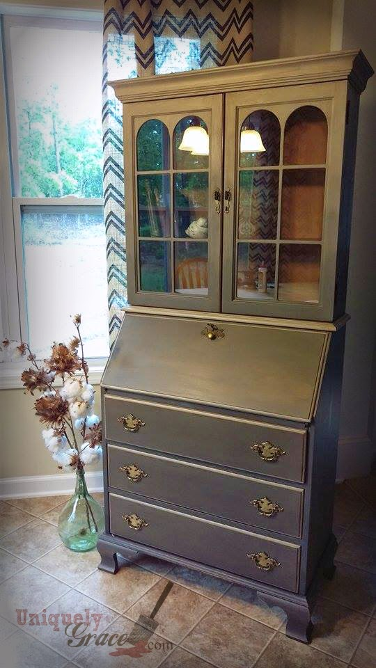 Jasper Cabinets Secretary Desk Furniture Flip With Chalk Paint And Shimmer