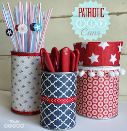 Patriotic Tin Cans {Utensil Caddy}