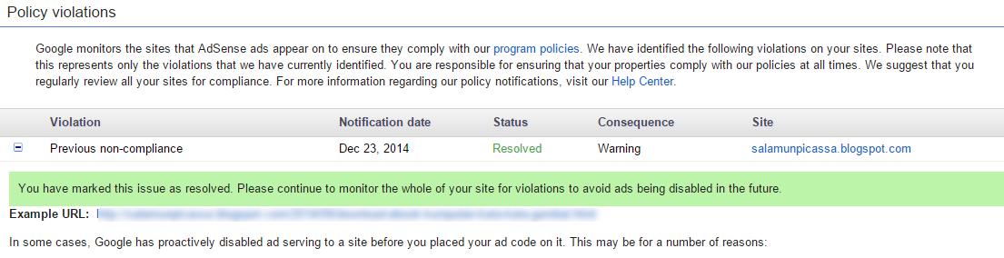 Pemberitahuan kebijakan berisi permintaan untuk membuat perubahan pada situs