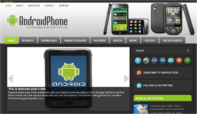 Android Phone Blogger Template