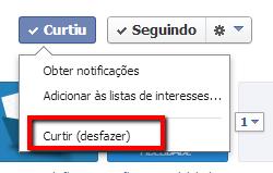 Passo 2 para remover vírus do Facebook: descurtir (desfazer o curtir)
