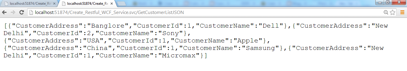 WCF REST response in JSON format