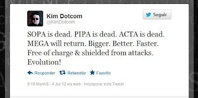 sopa is dead. pipa is dead. acta is dead. mega will return. bigger. better. faster. free of charge & shielded from attacks. evolution!