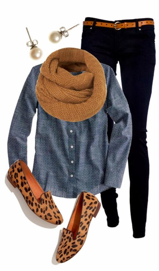Brown handmade shawl, shirt, black pants, ear-tops, and cheetah skin shoes for ladies