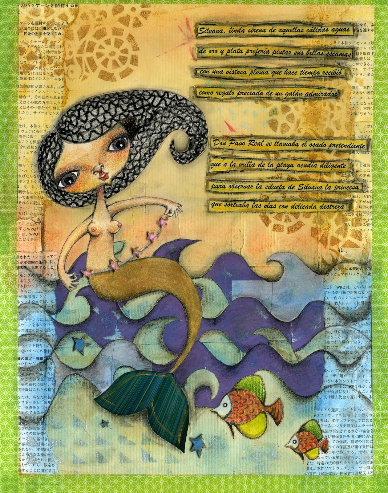 """Washitape, goma eva, recortes de papel, pasteles, ceras, lápices de colores…todo reunido en """"Silvana"""". Lo pasé genial mezclando técnicas y materiales."""