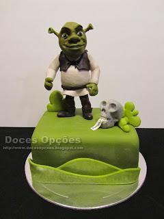 Bolo de aniversário com o Shrek