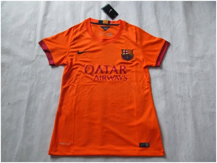 Kaos Bola Barcelona Away Warna Orange Untuk Ladies 14 15