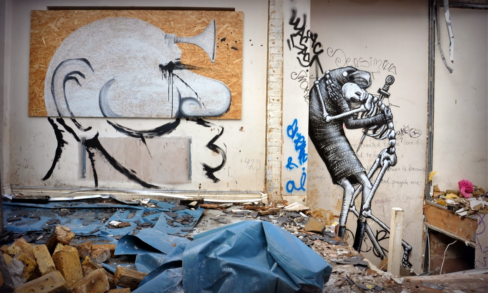 Phlegm, RUN and Christiaan Nagel paint for Last Breath II in Bethnal Green, London. 1