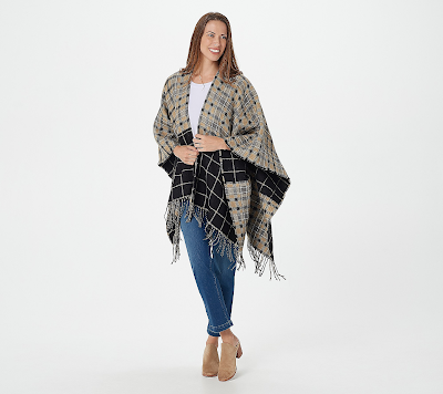 Mixed Plaid Reversible Ruana