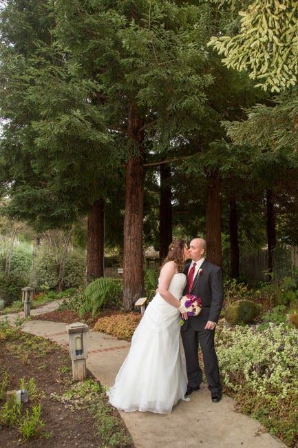 Bride & Groom in the garden with redwoods