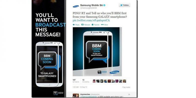 Samsung Beri Petunjuk Kehadiran BBM di Android