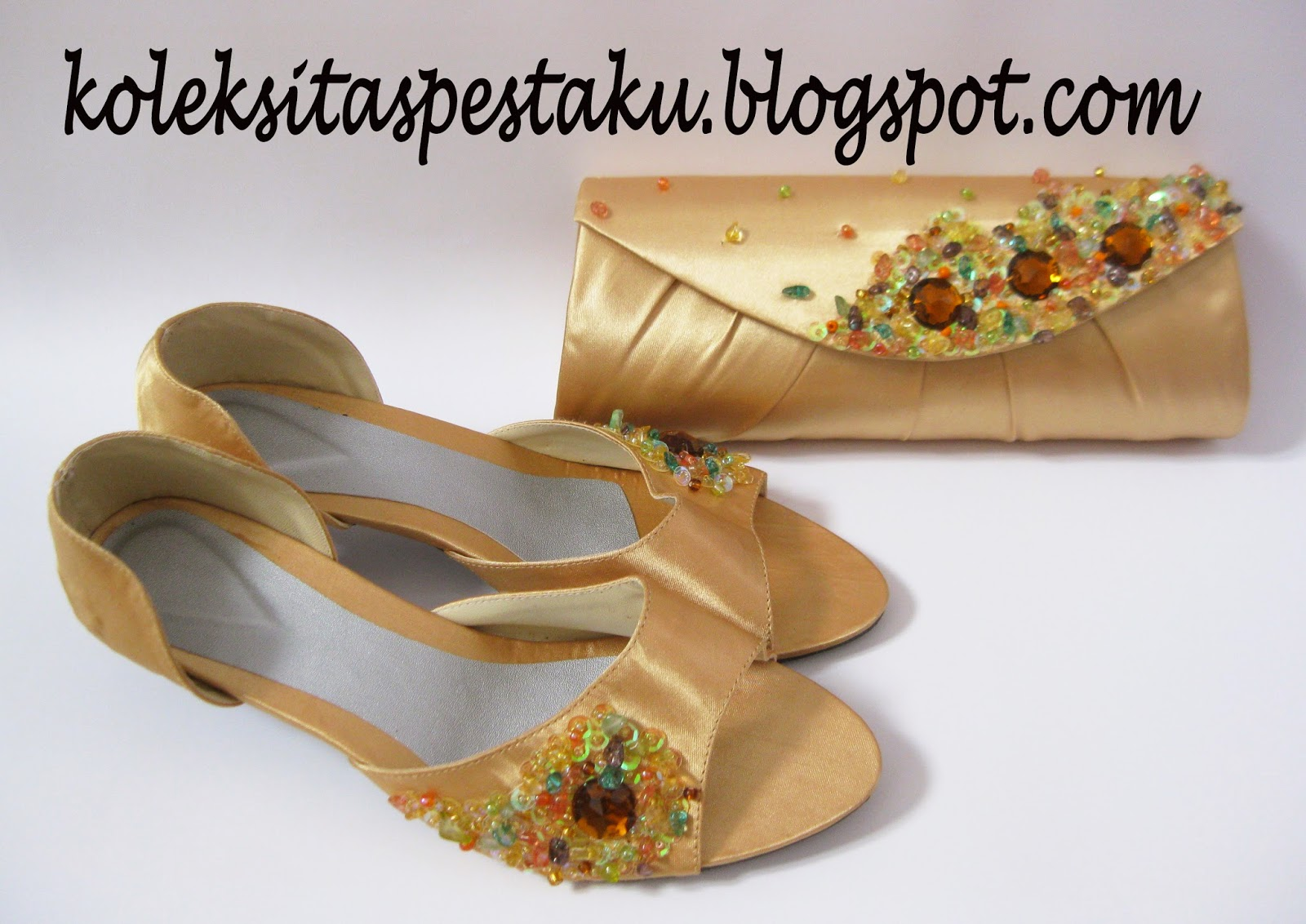 Sepatu Cantik Dan Tas Pesta Cantik Mewah Gold Unik