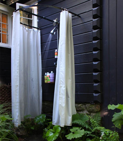 Outdoor shower curtains