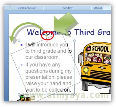 Gambar:  Cara memutar atau rotasi teks di slide presentasi powerpoint