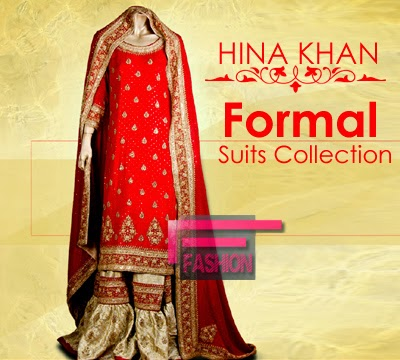 Formal suits collection 2014 by hina khan pakistani wedding wear