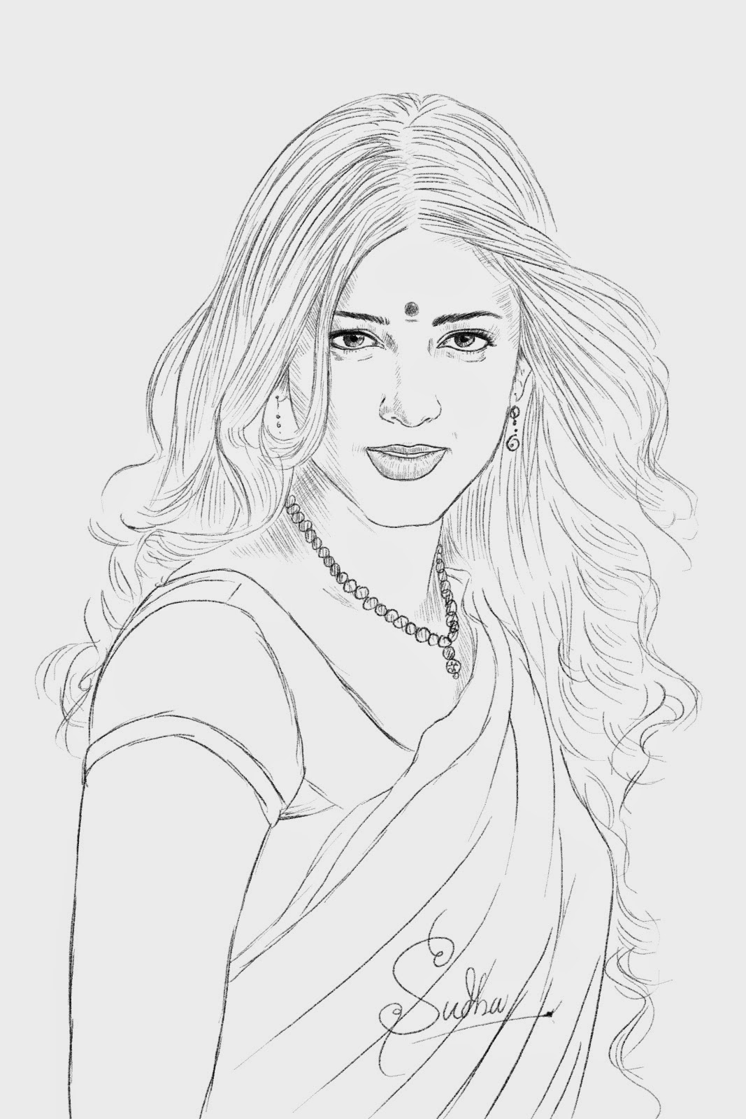 Shruthi hasan portrait drawing pencil sketch of beautiful indian actress