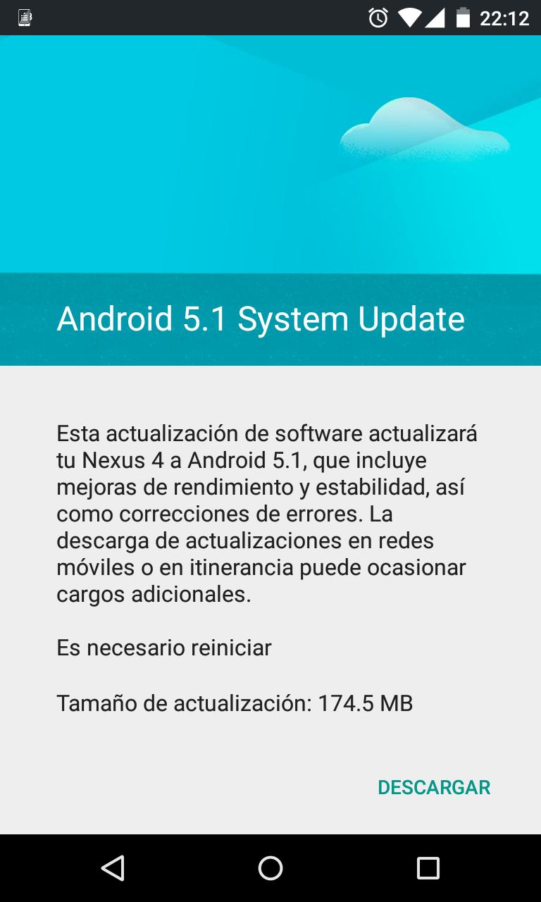 Aviso de que hay una actualización a Android 5.1 para mi Nexus 4.