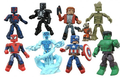 Walgreen's Exclusive Marvel Animated Universe Minimates Series 1 - Captain America with Hulk, Star-Lord with Groot & Rocket Raccoon, Spider-Man with Electro & Spider-Man 2099 with Agent Venom