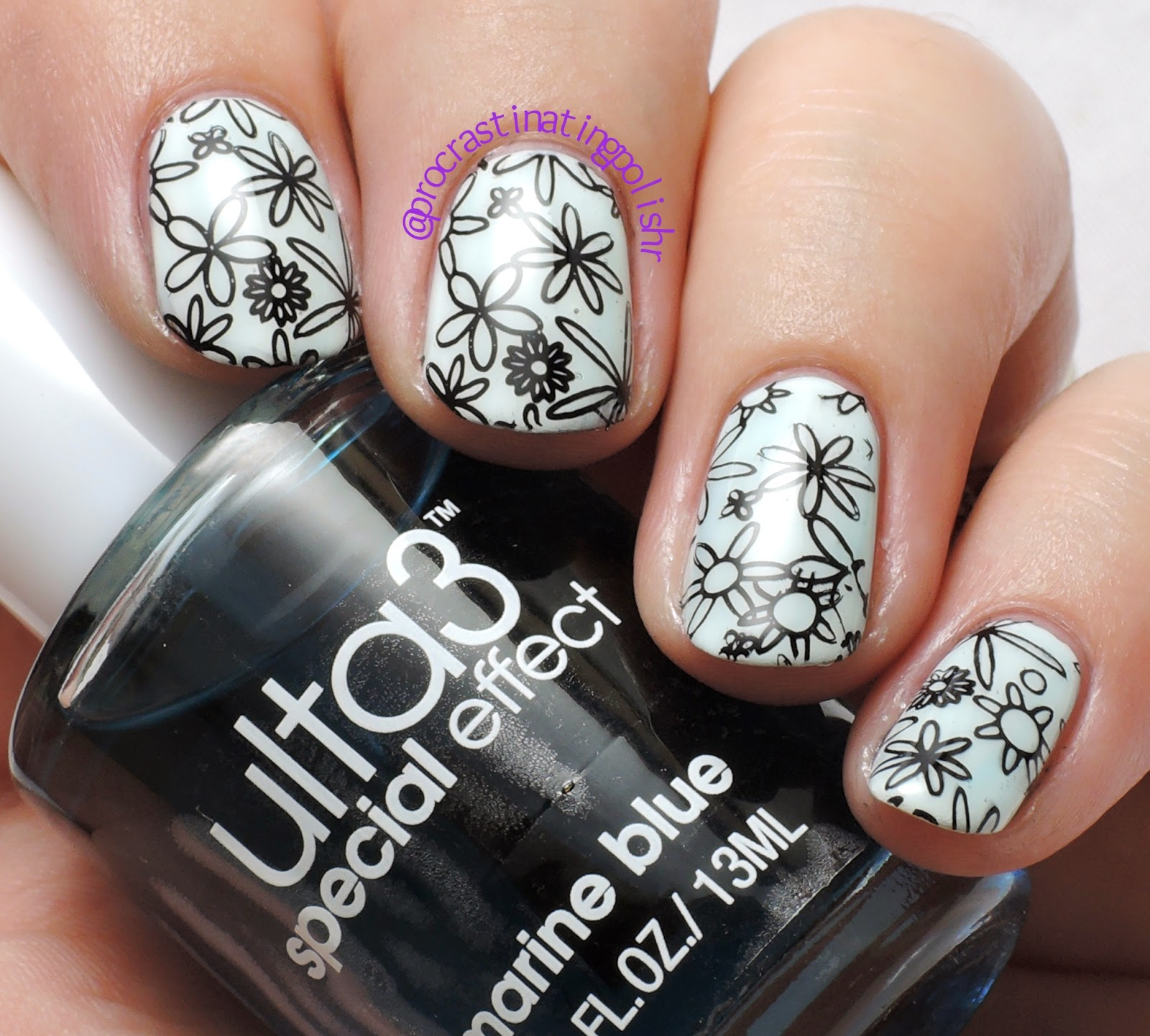 Floral stamping | Ulta3 Watercolour Marine Blue | Lilyanna 06
