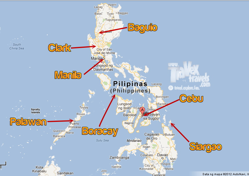 philippine map with key tourist spot islands