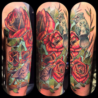 Birds and Roses Tattoo