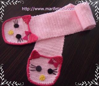 Tiğ İşi Örgü Hello Kitty Atkı Örneği