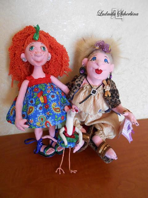 текстильные куклы бабушка с внучкой